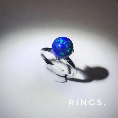 地球がのったリング!?「瑠璃色京都オパールの輝き」一粒シルバーリング
