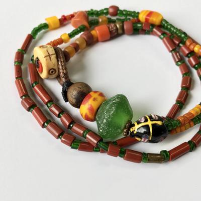 【No.216】古代インドパシフィック antiqueシードビーズ ソロバン型 アールデコ期 珊瑚