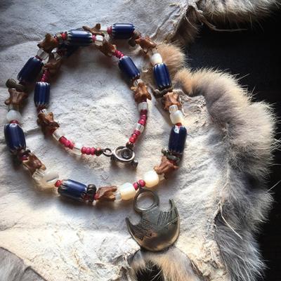 【No.374】antiqueシェブロン トゥアレグシルバー マザーオブパール 蛇骨 ホワイトハーツ