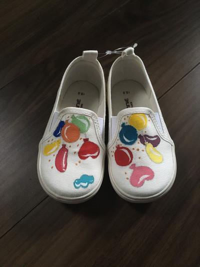 バルーンキッズスニーカー キッズスリッポン/子供靴/手描き/上履き/幼稚園靴/保育園靴/風船