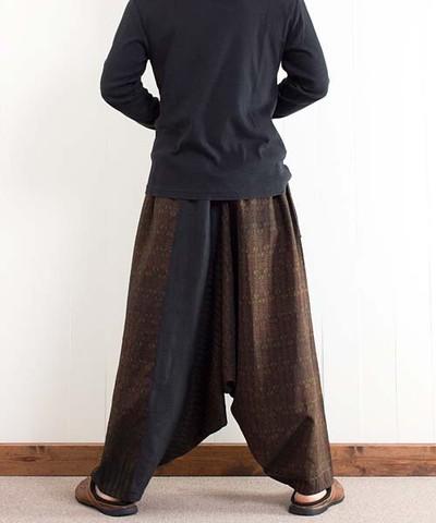 オールドシルクのアラジンパンツ..何色もの色で織り出された渋い絣模様