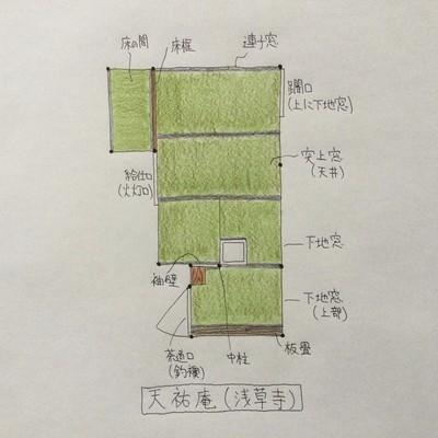 浅草寺(台東区)の伝法院庭内にある茶室「天祐庵」の間取り(図面)や特徴を解説してみました!