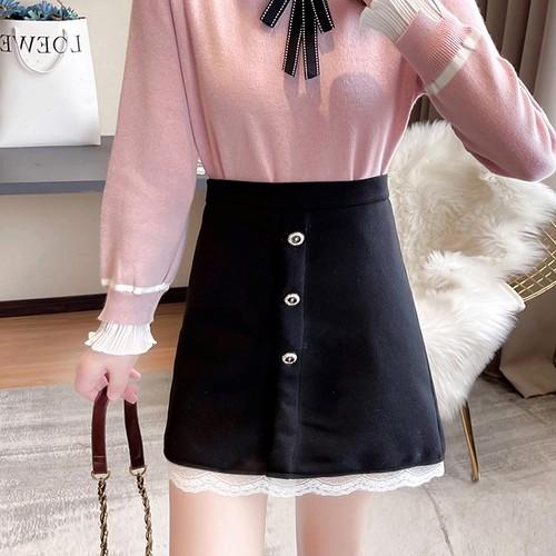 裾レースフラワーボタンスカート ・18242