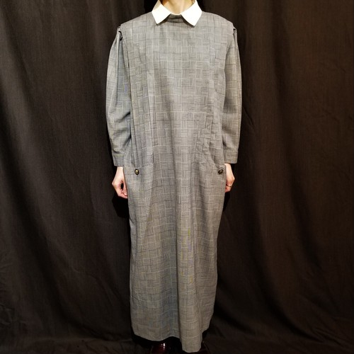 Tuck design wool check one-piece /Made In West Germany [H-120]
