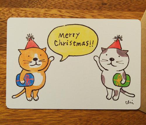 クリスマスグリーティングカード「プレゼント・ふたり」封筒付