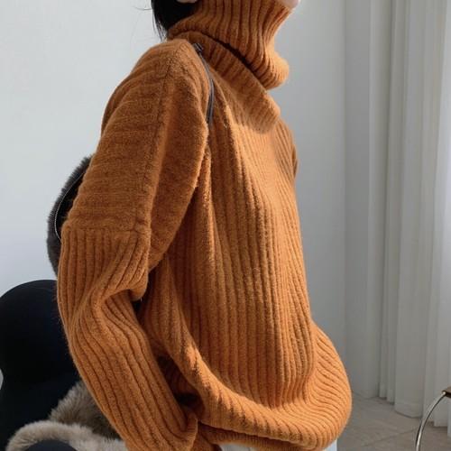5色/リブニットタートルネックセーター ・1366