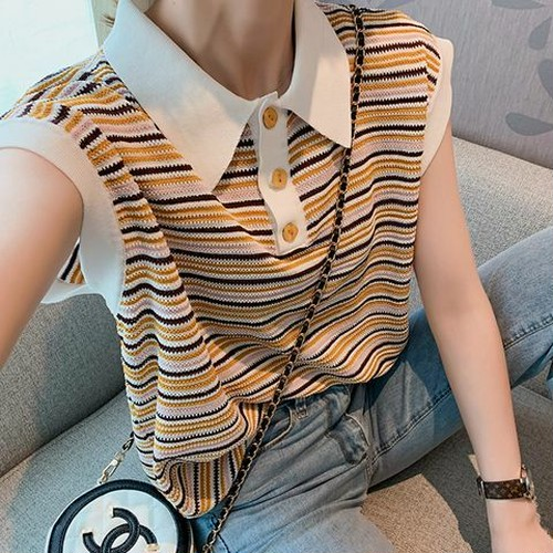 ニットシャツ 2色 フリーサイズ トップス レディースニット ニットシャツ ストライプ 半袖 カジュアル スタイリッシュ おしゃれ デイリー お出かけ オフィス 春夏 HI-1906-0001851