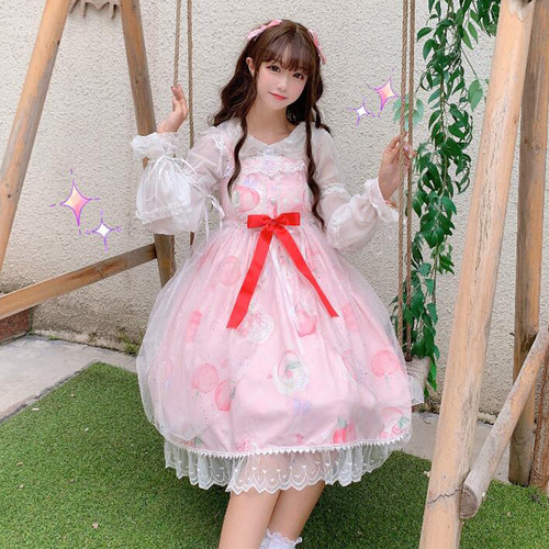 【セットアップ】lolitaボールガウンキャミワンピース+スピーカースリーブシャツ+ガーゼ二点セット