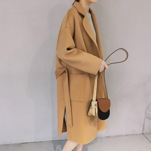 【アウター】ファッションベルト付き折り襟カーディガンコート24155880