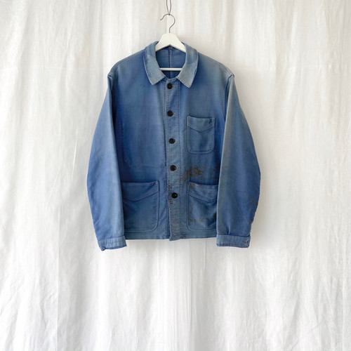 "FRANCE 50s~vintage""ADOLPHE LAFONT""ink blue moleskin work jacket-BORO-"