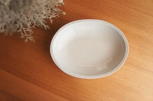 砥部焼/楕円カレー皿/鎬