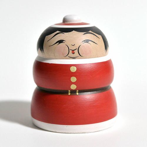 クリスマスこけし(ふくよかさん) 約2.5寸 約7.6cm 平賀輝幸 工人(作並系)#0090