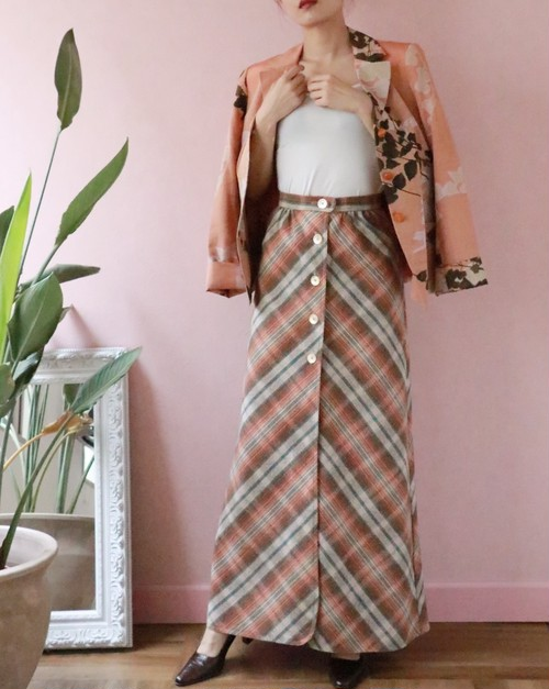 vintage checked long skirt