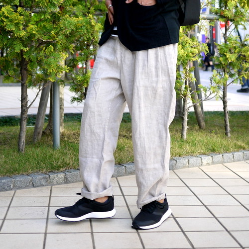 Linen Wide Tuck Pants Beige
