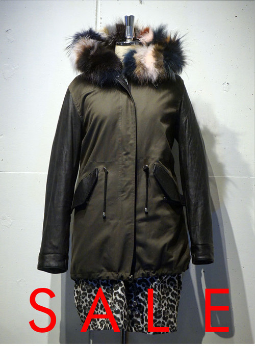 ANNARITA N Leather Mods Coat カーキ
