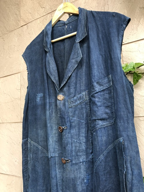 〜1930s French indigo linen sleeveless coat