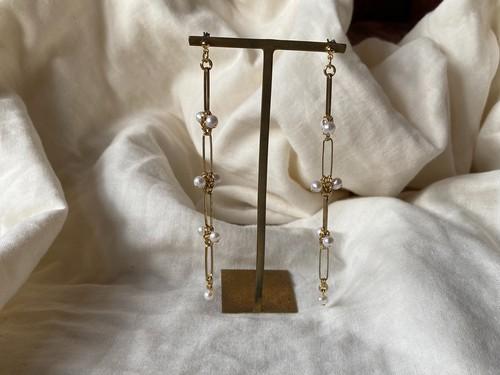 link chain pearl pierce/earrings