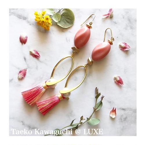 春の新作♢フリンジロングピアス(ピンク)
