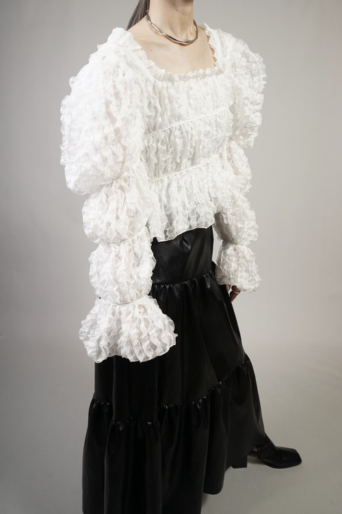 SQUARE NECK RUFFLE TIERED TOPS  (WHITE) 2103-36-46
