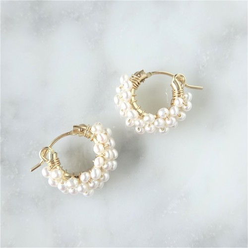 送料無料14kgf*AAA Pearls pavé pierced earring / earring
