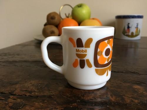 フランス アルコパル社エスプレッソカップ(茶&オレンジ)Mobile柄