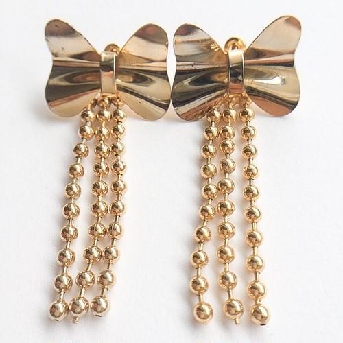 gold bow fringe pierce[p-481]