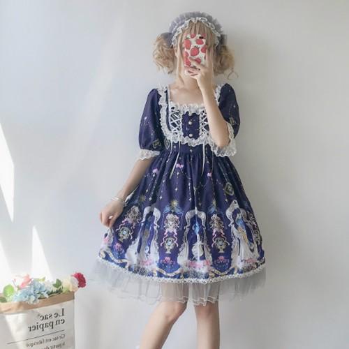 9884ロリータ服 ロリィタドレス ロリータ衣装 可愛い 少女風 日常 ワンピース 半袖ワンピース lolita