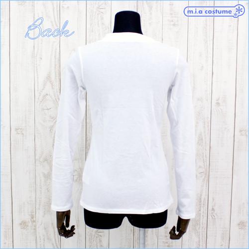 アメリカ製の高品質な綿100%レディースVネック長袖カットソー 色:白