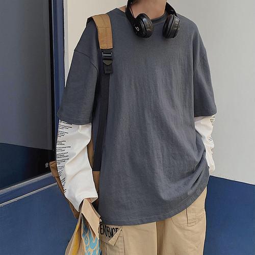 レイヤードレタリングロングTシャツ BL5064
