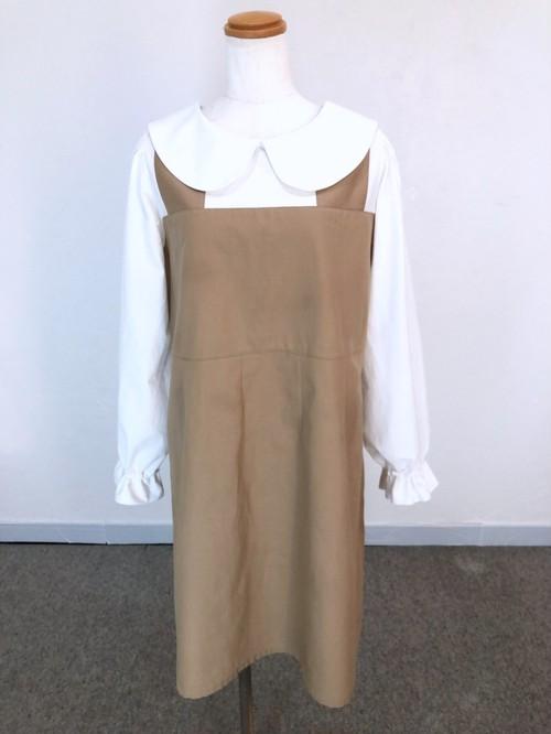 ホワイト&ブラウン 清潔感とシンプルさが素敵なジャンパースカート風丸襟ワンピース。一点もの 大人 可愛い コットン100% パフスリーブ 通勤 通学 快適 フェイク