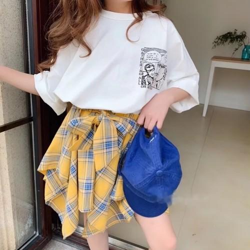 チェック柄シャツスカート【B048】