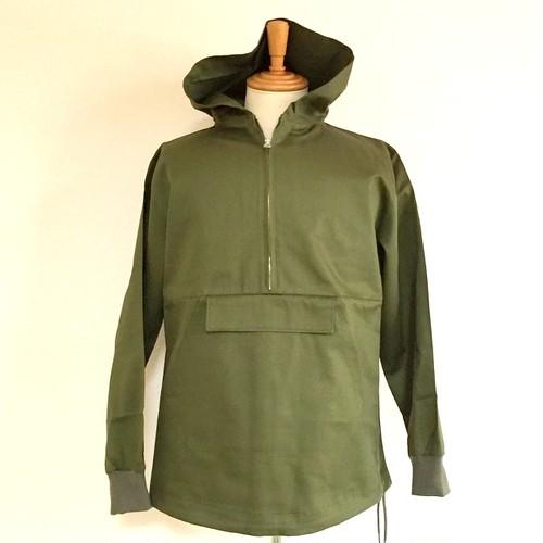 Glossy twill Half-Zip Anorak Jacket Olive