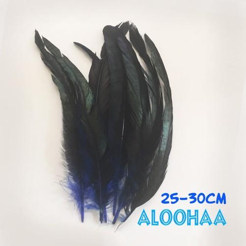 ロングフェザー 【青】#30-002BE25-CT  25~30cm タヒチアン 衣装 材料 ルースターテール 染め 羽根