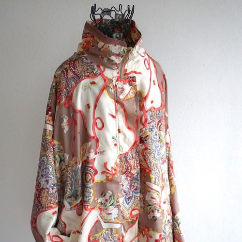 1990's [details sportswear] シルクブルゾン ペイズリー×フローラルパターン 総柄 表記(women's 3X) ビッグサイズ ヴィンテージ
