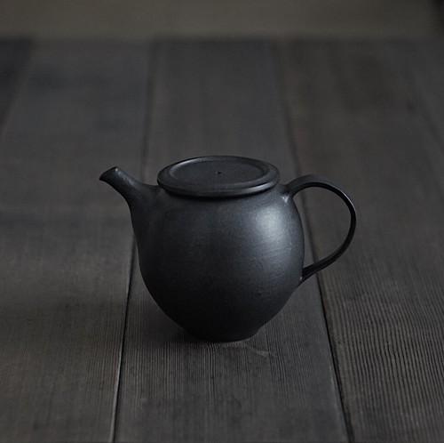 黒鉄釉 ポット(丸型)