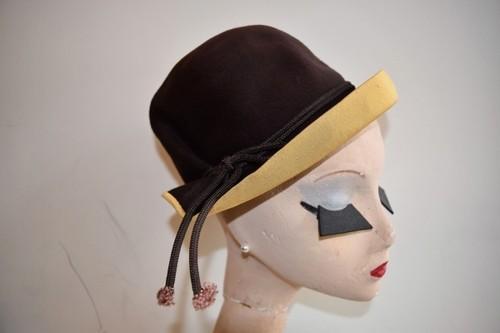 VINTAGE brown yellow wool hat
