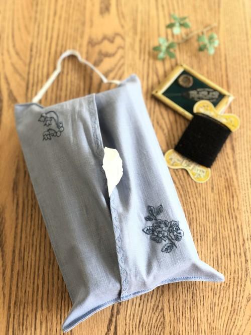 刺繍のティッシュカバー(ナチュラル・ライトブルー)