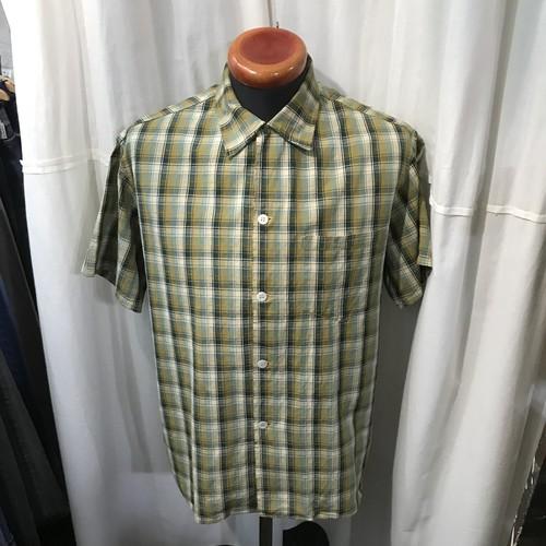 60's~ vintage ボックスシルエット チェックシャツ ループボタン メンズL