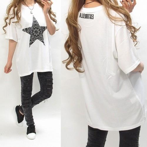 スター星柄ペイズリー バックロゴ BIGTシャツ ホワイト