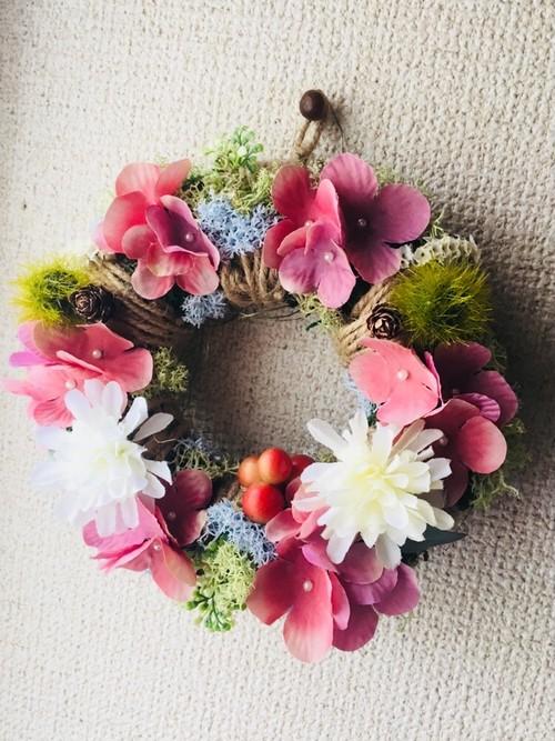 カラフル花畑リース*色とりどりの花が素敵な花畑リース*果実・花・葉*