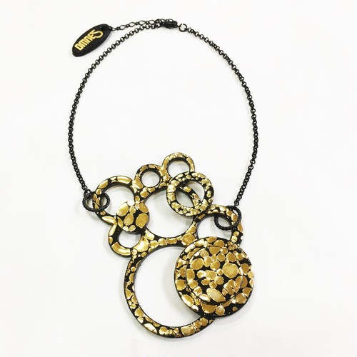 Motif Necklace M [Water Drop] Gold×Black