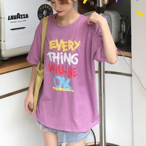 【トップス】韓国風ルーズ合わせやすいアルファベットプリントTシャツ19198209