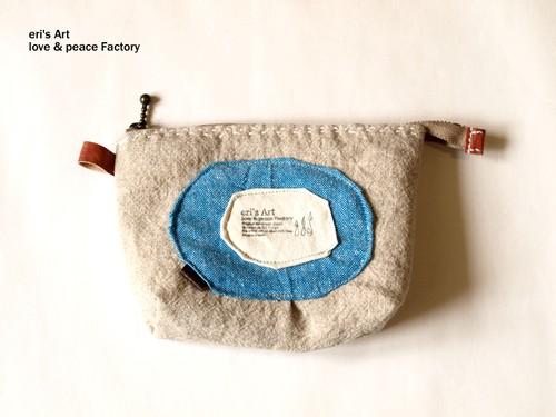 布と革のポーチ サークル CL-003