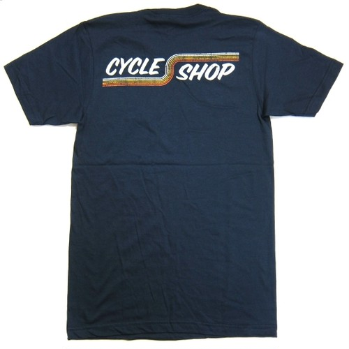 Lawrence Vintage Cycle 74's Forever Cycle Shop Stripes tee shirt, navy