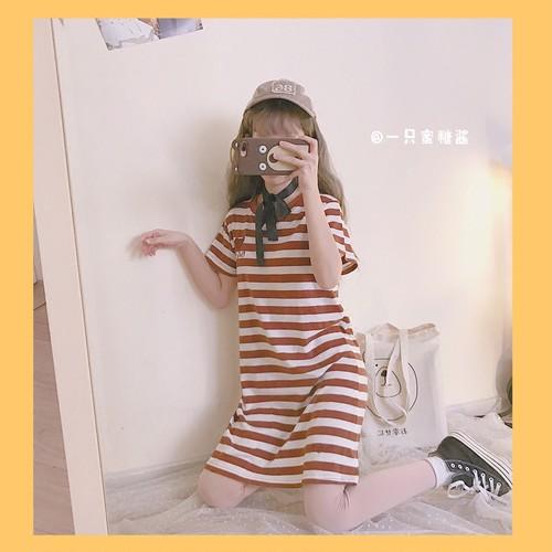 【トップス】ボーダー春夏スウィート韓国風カジュアルラウンドネック半袖ショート丈/ロング丈Tシャツ