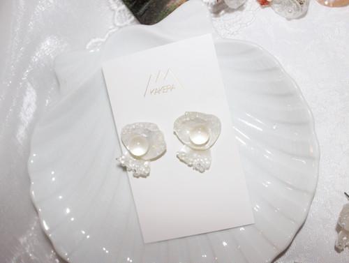 白い貝殻と透明ピアス