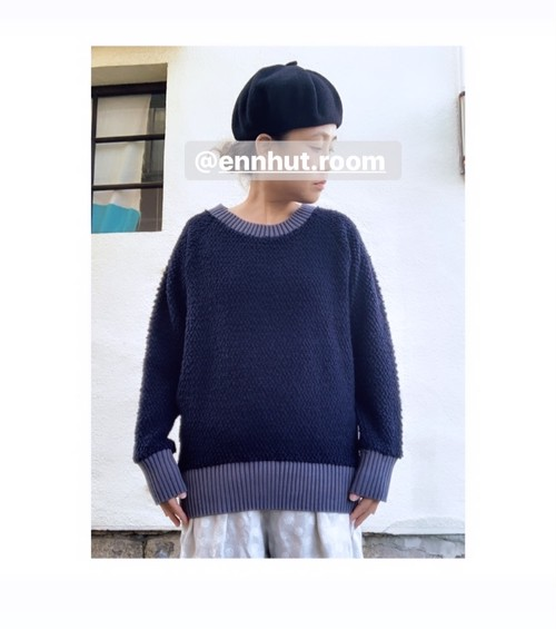【wool pull over】wool knit/ネイビー/original textile