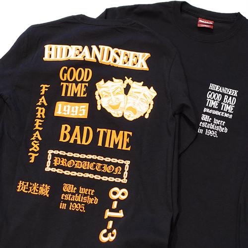 HIDEANDSEEK(ハイドアンドシーク) / TWOFACE L/S TEE(BLACK)(HC-080821)(ロングスリーブTシャツ)