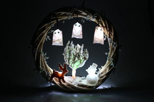 箱庭 リース LEDライト 冬の夜