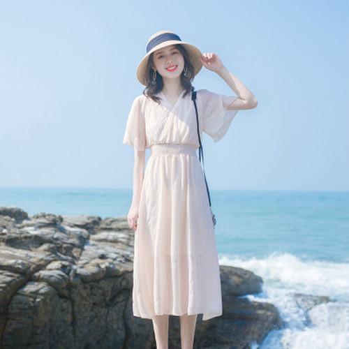 【dress】一目惚れ清新人気デザインVネックスウィートデートワンピースゆったり
